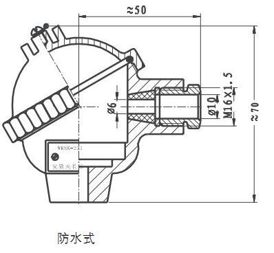 WRNK-431铠装热电偶(防水式铠装 镍铬-镍硅热电偶)的图纸