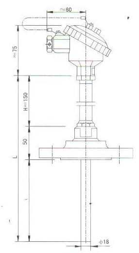 法兰连接热套热电偶(热电阻)结构图