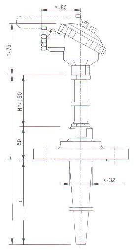 锥形管法兰连接热套热电偶(热电阻)结构图