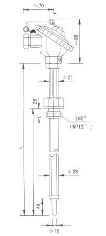 烟道、风道热电偶(热电阻)结构图