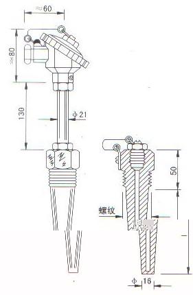 低温低压热电偶(热电阻)结构图